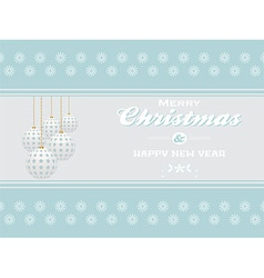 Merry Christmas on light blue landscape background vector