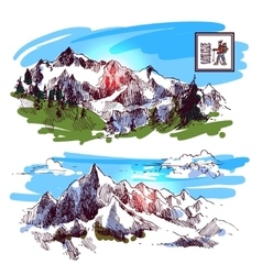 mountains engraving style vector image