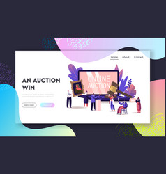 online auction landing page template auctioneer vector image