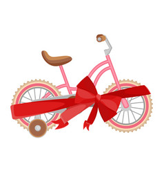pink bicycle in decorative wrapping ribbon with vector image