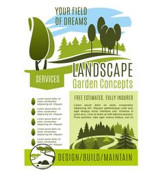Poster gardening landscape design company vector