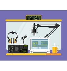 Professional radio station studio with microphones vector