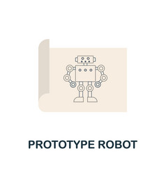 Prototype robot flat icon colored sign from vector