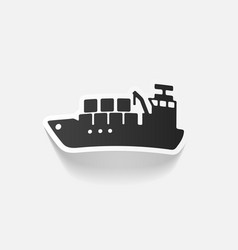 Realistic design element cargo ship vector