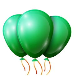 Realistic green balloons with ribbon isolated on vector