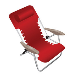 Red folding aluminium armchair with a pillow vector