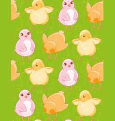 seamless pattern with funny drawn yellow and pink vector image