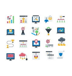 Seo and web optimization icons set vector