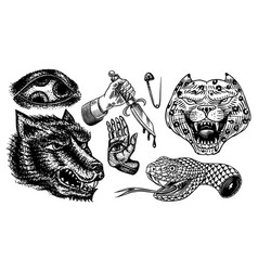 set fashion patches tattoo artwork mystical vector image