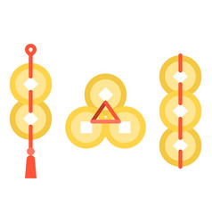 Set of gold coins of china vector