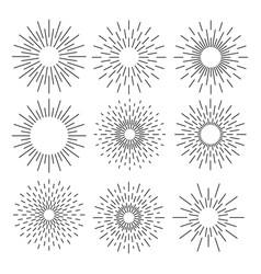 Set of sunburst geometric shapes stars and light vector