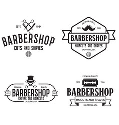 set of vintage barbershop labels templates for vector image