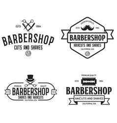 Set of vintage barbershop labels templates for vector