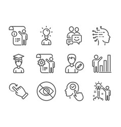 Set people icons such as student artificial vector