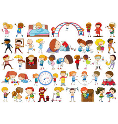 set simple kids vector image