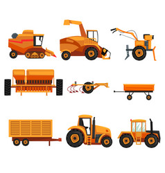Set with different heavy machinery used in vector