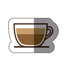 silhouette color sticker with coffee cup close up vector image