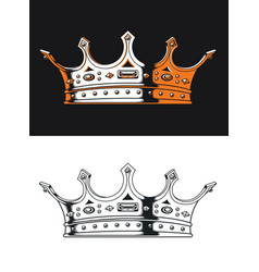 Silhouette king crown vintage isolated logo vector