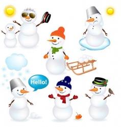 Snowmen icons vector