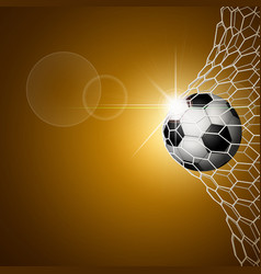 soccer ball in goal gold vector image