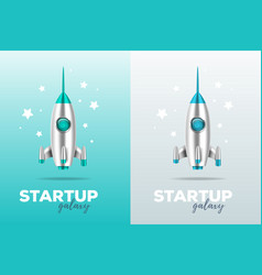 Startup business concept with shuttle realistic vector