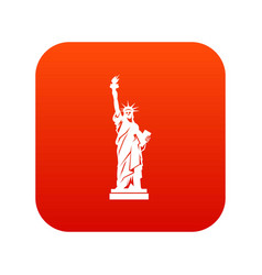 statue of liberty icon digital red vector image