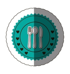 sticker color round frame with cutlery set vector image