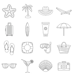 Summer rest icons set outline style vector