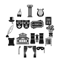 Theater icons set simple style vector