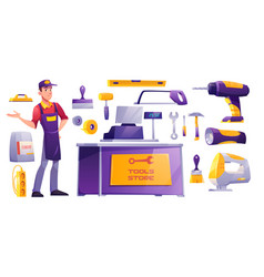 Tools store hardware construction shop equipment vector
