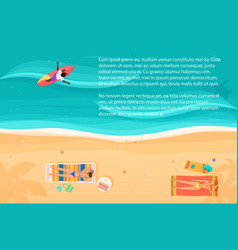 top view of exotic sea beach with people and vector image