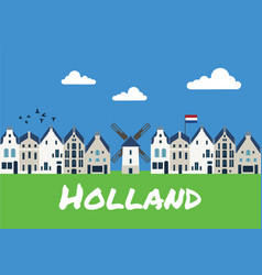 traditional dutch houses and mills vector image