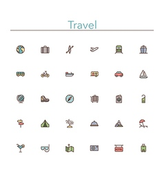 Travel colored line icons vector