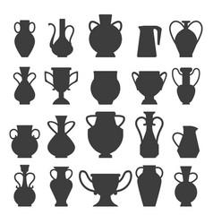 Vases black silhouettes vector
