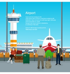 Waiting Room in Airport and Text vector