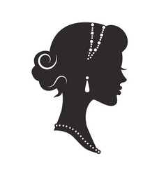 woman silhouette historic with graceful hairstyle vector image