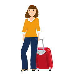 Woman tourist with a suitcase vector
