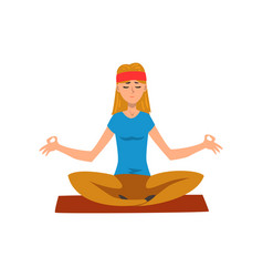 young woman practicing yoga in lotus position vector image