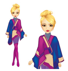 Girl dressed in warm poncho vector
