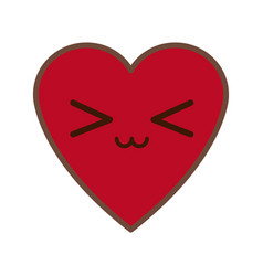 kawaii red heart love romance feeeling symbol vector image