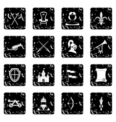 Medieval army icons set grunge style vector image