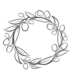 Olive wreath frame vector image