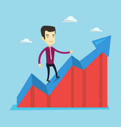 business man standing on profit chart vector image vector image