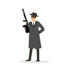 mafia man character in gray coat and fedora hat vector image vector image