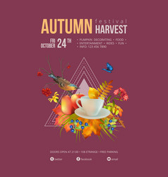 watercolor autumn poster vector image