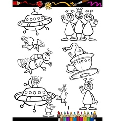 Aliens Cartoon Set for coloring book vector image vector image