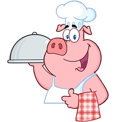 Pig chef holding a platter sign vector