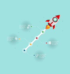 rocket startup launch infographic business vector image vector image