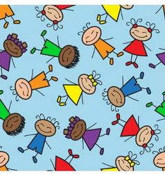 seamless background with cartoon kids vector image