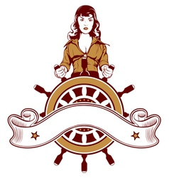 ship wheel girl emblem vector image
